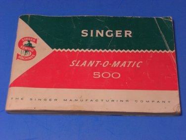 Singer 500 Slant-O-Matic Instruction Manual Original 1961