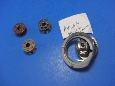 ATLAS Sewing Machines Assembly Bobbin Case Hook & Race Cover + 4 Bobbins