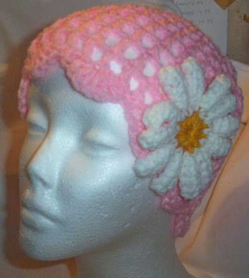Hand Crochet ~ Ladies Skull Cap ~ Pink with a daisy
