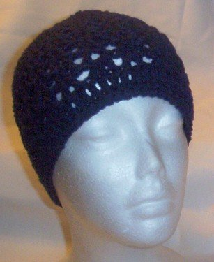 Hand Crochet ~ Ladies Skull Cap ~ Navy Blue