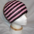 Hand Crochet ~ Sweet Skater Beanies ~ Pink and Black Stripes