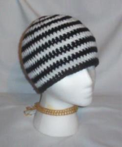 Hand Crochet ~ Sweet Beanies ~ Goth Black/White Skater