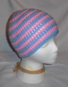 Hand Crochet ~ Sweet Beanie ~ Goth Pink & Blue Skater