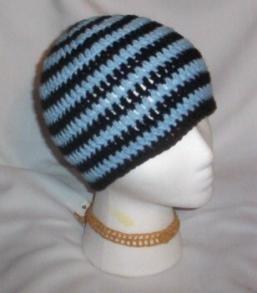 Hand Crochet ~ Sweet Beanies ~ Goth Black & Blue Unisex
