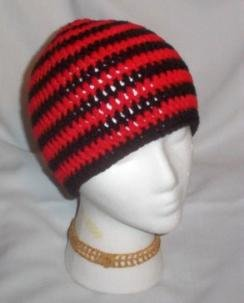 Hand Crochet ~ Sweet Skater Beanies ~ Black and Red Stripes