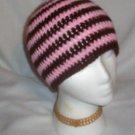 Hand Crochet ~ Sweet Beanie ~ Goth Drk Brown/Pink Emo