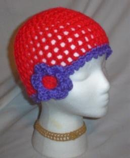 Hand Crochet Ladies Red Hat Society Mesh Flower Hat