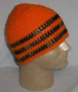 Hand Crochet ~ Sweet Beanie ~ Orange/camo - Unisex