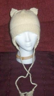 Hand Knit ~ Ladies Aran Cat Ears Hat with Earflaps