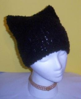 Hand Knit Cat Ears Hat Meooow - Black Soft Boucle