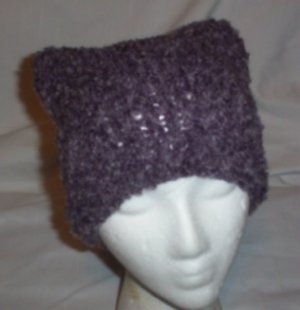 Hand Knit Cat Ears Hat Meooow - Mauve Shades Boucle