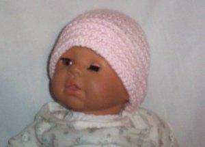 Hand Crochet Baby Pink Beanie Hat Newborn - 6 months