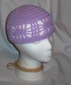 Hand Crochet ~ Ladies Open Cloche Hat - Lavendar