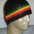Hand Crochet ~ Men's Skull Cap Beanie Hat Rasta Stripe C