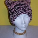 Hand Knit Cat Ears Hat Meooow - Pink and Black Goth Emo