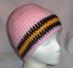 Hand Crochet ~ Steelers Beanie Black N Gold PINK