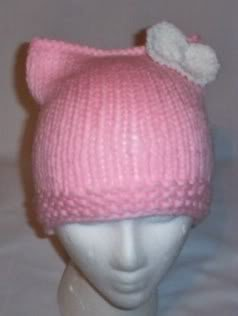 Hand Knit Cat Ears Hat Meow - Hello Kitty L Pink/White