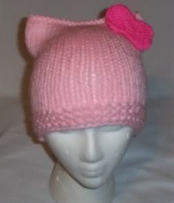 Hand Knit Cat Ears Hat Meow - Hello Kitty L Pink/H Pink