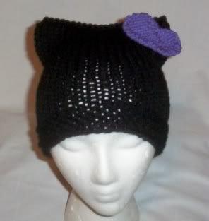 Hand Knit Cat Ears Hat Meow - Hello Kitty Black/Purple