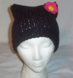 Hand Knit Cat Ears Hat Meow -Goth Hello Kitty Black/Flower