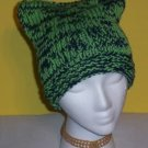 Hand Knit Cat Ears Hat Meooow - Navy and Lime