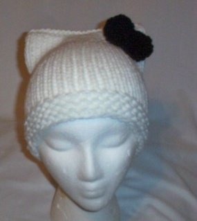 Hand Knit Cat Ears Hat Meow - Hello Kitty White/Black