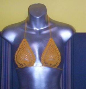Hand Crochet Pineapple Bikini Top Halter Sexy B Cup