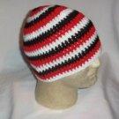 Hand Crochet ~ Men's Skull Cap Beanie Hat Red/Blk/Wht B
