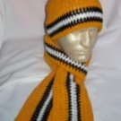 Hand Crochet ~ Steelers Beanie/Scarf Set Black N Gold B