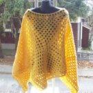 Hand Crochet Yellow Athena Poncho - Plus Sizing