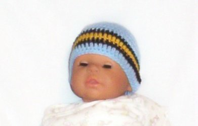 Hand Crochet Baby's Beanie Newborn - 6 mons -Blue  Pittsburgh Sports Teams