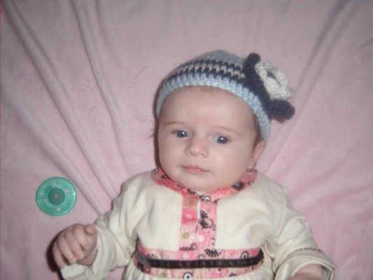 Hand Crochet Baby's Beanie Newborn - 6 mons - Blue Flower Pittsburgh Sports Teams