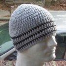 Hand Crochet ~ Men's Skull Cap Beanie Hat Gray Stripes