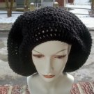 Hand Crochet Oversized Slouchy Beret Rasta Snood Black