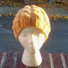 Hand Knit Slouchy Wheat Cabled Beret Rasta Hat Tam Snood
