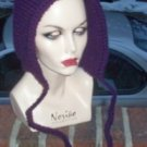 Hand Knit Pixie Hood ~ Purple