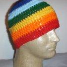 Hand Crochet ~ Sweet Beanie ~ Rainbow Stripes - Mens