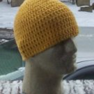 Hand Crochet ~ Men&#39;s Cotton Skull Cap Beanie Hat - Yellow