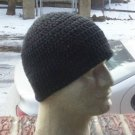 Hand Crochet ~ Men's Cotton Skull Cap Beanie Hat - Black