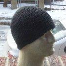 Hand Crochet ~ Men's Cotton Skull Cap Beanie Hat - Black