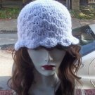 Hand Crochet - Ladies White Mermaid Beach Hat