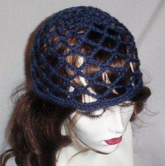 Hand Crochet Summer Mesh Juliet Cap - Navy Blue