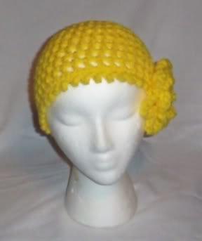 Hand Crochet Yellow Mesh Beanie with Yellow Flower