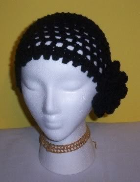 Hand Crochet Black Mesh Beanie with Black Flower
