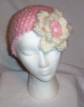 Hand Crochet Pink Mesh Hat with Off White Flower