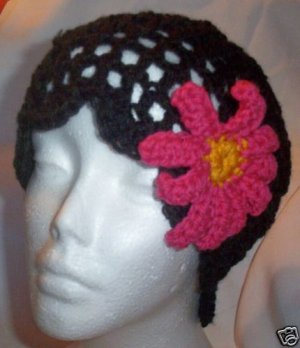 Hand Crochet Black Mesh Beanie with Pink Daisy