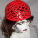 Hand Crochet Summer Mesh Juliet Cap - Red