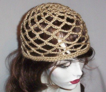 Hand Crochet Summer Mesh Juliet Cap - Tan