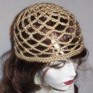 Hand Crochet Summer Mesh Juliet Cap - Tan
