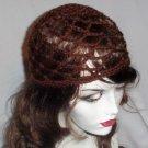 Hand Crochet Summer Mesh Juliet Cap - Brown